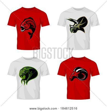 Furious piranha, ram, snake and dinosaur head sport vector logo concept set on t-shirt mockup.  Modern team mascot badge design. Premium quality wild animal t-shirt tee print illustration.