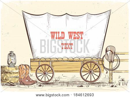 Wild West Wagon.vector Cowboy Illustration Background For Text