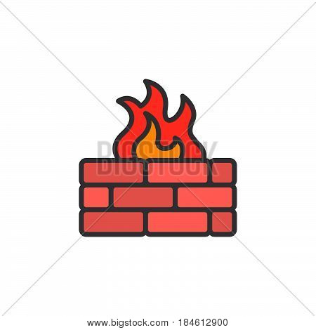 Brick wall and fire line icon filled outline vector sign linear colorful pictogram isolated on white. Firewall symbol logo illustration