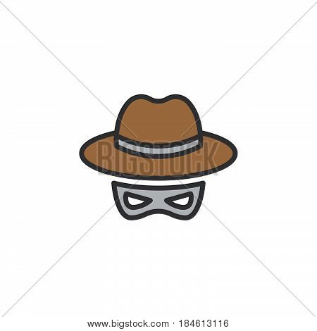 Hat and mask Spy line icon filled outline vector sign linear colorful pictogram isolated on white. Spyware symbol logo illustration