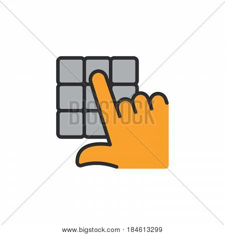 Hand and pin pad line icon filled outline vector sign linear colorful pictogram isolated on white. Enter pin code symbol logo illustration