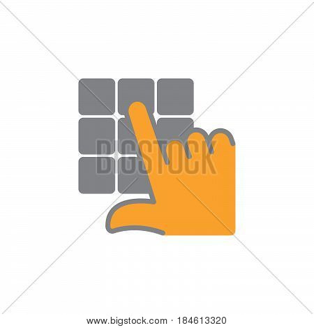 Hand and pin pad icon vector filled flat sign solid colorful pictogram isolated on white. Enter pin code symbol logo illustration