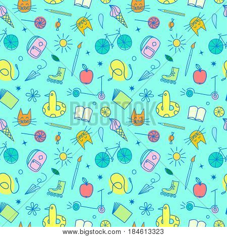Childhood theme colorful doodle seamless pattern with sweets books bicycle and other children's stuff. Hand drawn background for your design.