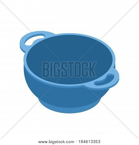 Blue Empty Bowls For Food Is Isolated Isometry. Cooking Utensils