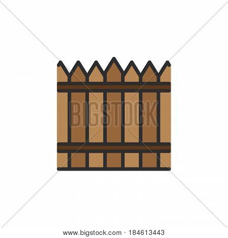 Fence wood wall line icon filled outline vector sign linear colorful pictogram isolated on white. Symbol logo illustration