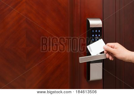 electronic door lock opening by an blank security card good for adding text and logo