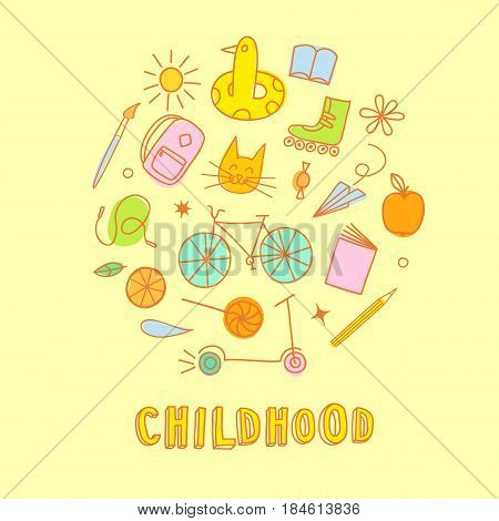 Childhood theme colorful doodle set with sweets books bicycle and other children's stuff. Hand drawn elements for your design.