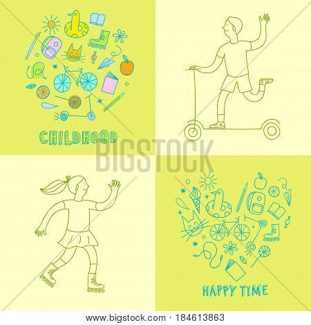 Childhood theme colorful doodle set with kids and elements: sweets books bicycle and other children's stuff. Hand drawn illustration for your design.