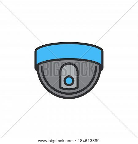Dome camera line icon filled outline vector sign linear colorful pictogram isolated on white. Surveillance symbol logo illustration