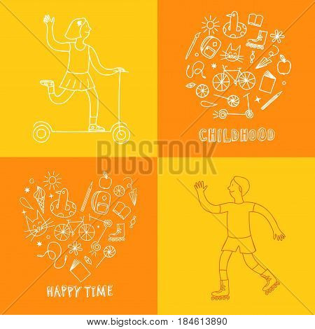 Childhood theme doodle set with kids and elements: sweets books bicycle and other children's stuff. Hand drawn illustration for your design.