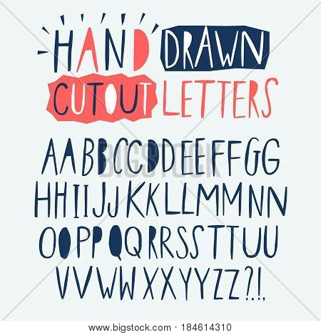 Hand drawn creative cutout style vector ABC letters set. Doodle comic font for your design.