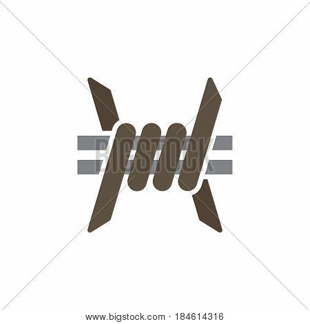 Barbed Wire icon vector filled flat sign solid pictogram isolated on white. Symbol logo illustration