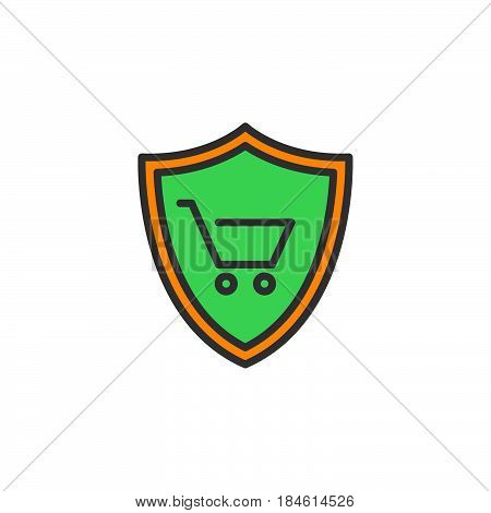 Shield with shopping cart line icon filled outline vector sign linear colorful pictogram isolated on white. Buyer Protection symbol logo illustration