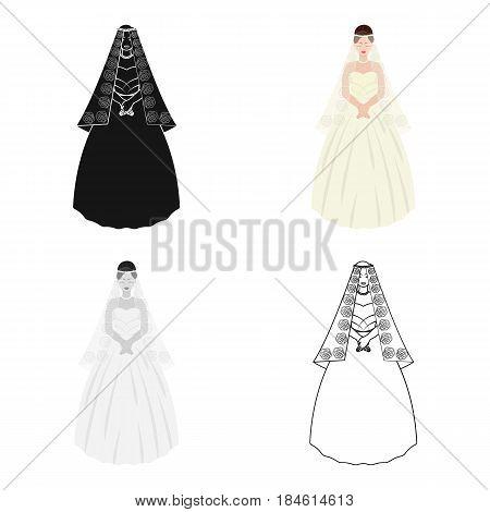 Bride in a beautiful wedding dress.Wedding single icon in cartoon style vector symbol stock web illustration.