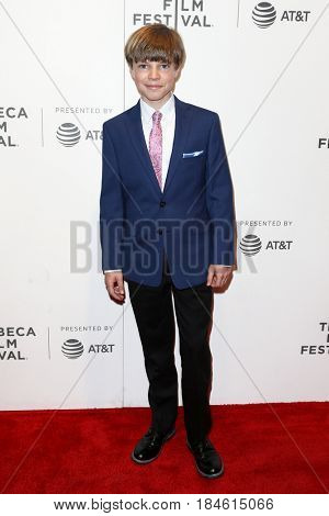 NEW YORK-APR 28: Tanner Flood attends the 'Unbreakable Kimmy Schmidt' screening at BMCC at PAC during the 2017 TriBeCa Film Festival on April 28, 2017 in New York City.