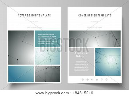 Business templates for brochure, magazine, flyer, booklet or annual report. Cover design template, easy editable vector, abstract flat layout in A4 size. Geometric background, connected line and dots. Molecular structure. Scientific, medical, technology c