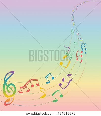 Set of musical notes on a five-line clock. Colors of rainbow. Treble clef. Vector Illustration. EPS10