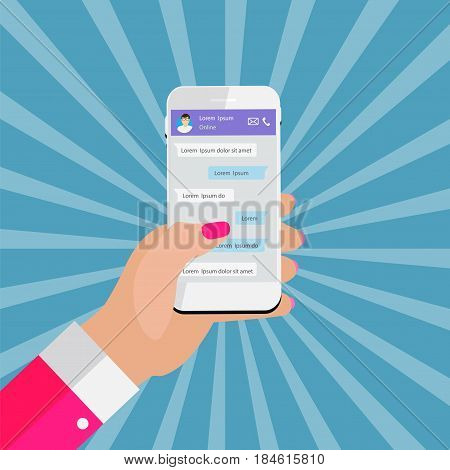 Mobile Apps Concept Hand Holding Phone. Social network concept. Abstract  Messenger Wndow with Chating and Message Chat Boxes. Vector illustration. EPS10