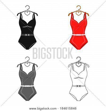 Plaid swimsuit in red and . Underwear for swimming.Swimcuits single icon in cartoon style vector symbol stock web illustration.