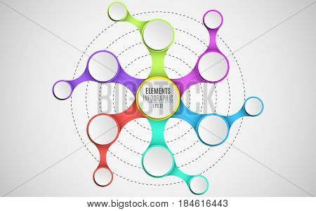 3d elements of infographics for your business projects. Empty paper three-dimensional circles in the style metaball. A chain of objects. Multicolored connections. Vector illustration in a flat style. EPS 10
