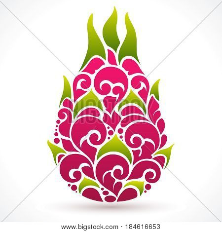 Vector illustration Dragon fruit - symbol, icon, design element. Abstract Ornamental pattern pitaya on white background