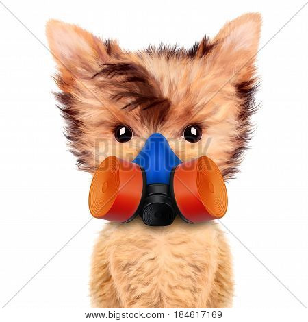 Funny dog in respirator Isolated on white background. Fixing computer and repair center concept with cute dog. Concepts for web banners, web sites.3D illustration with clipping path