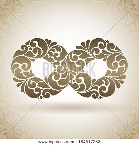 Vector decorative Infinity symbol. Vintage abstract Ornamental Endless Sign illustration on pattern background