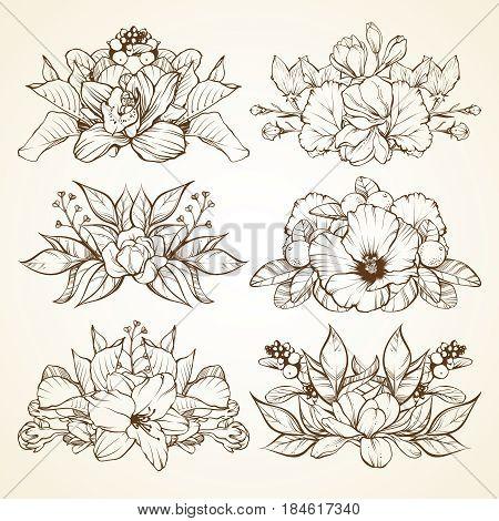 Set of flower arrangement, bouquet. Linear vector illustration