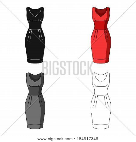 Red long evening dress for a hike in the theater. Women's sleeveless dress.Women clothing single icon in cartoon style vector symbol stock web illustration.