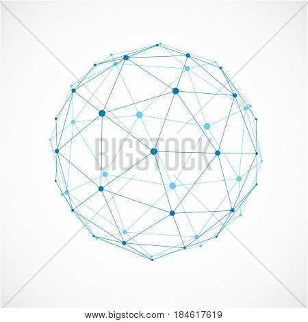 Vector Dimensional Wireframe Low Poly Object, Spherical Blue Facet Shape With Black Grid. Technology