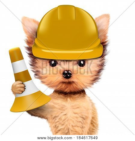Funny dog in yellow hard hat with cone isolated on white background. Concepts for web banners, web sites. Fixing computer and repair center concept with cute dog. 3D illustration with clipping path