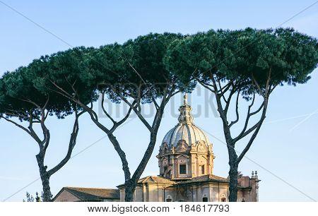 Rome, Italy -  Santa Maria Di Loreto Church And Stone Pines