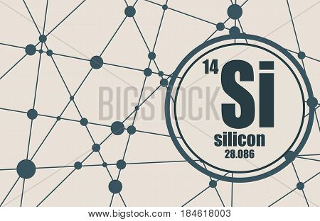 Silicon chemical element. Sign with atomic number and atomic weight. Chemical element of periodic table. Molecule And Communication Background. Connected lines with dots.