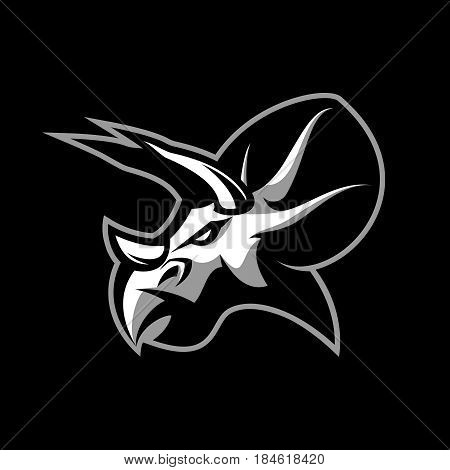 Furious dinosaur sport club vector logo concept isolated on black background. Modern team badge mascot design. Premium quality wild reptile t-shirt tee print illustration. Savage monster icon.