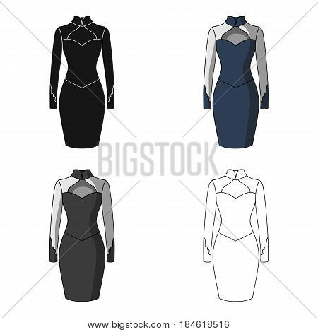 Strict two-color female dress to the knee. Dresses working style.Women clothing single icon in cartoon style vector symbol stock web illustration.