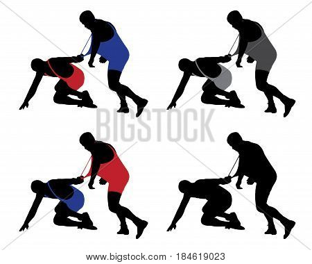 Wrestler pulling opponent's uniform. Isolated white background. EPS file available.