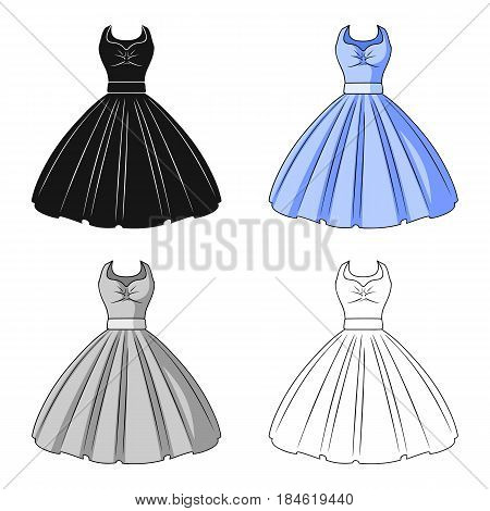 White fluffy wedding dress for a girl. Wedding wear.Women clothing single icon in cartoon style vector symbol stock web illustration.