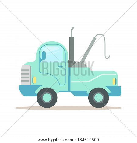 Wrecking car, service of evacuation colorful cartoon vector Illustration isolated on a white background