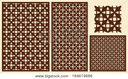 Set of decorative panels laser cutting. Universal diagonal geometric pattern. The ratio of 2: 3, 1: 2, 1: 1, seamless. Vector illustration.