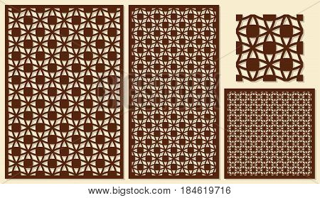 Set of decorative panels laser cutting. A universal square geometric pattern. The ratio of 2: 3, 1: 2, 1: 1, seamless. Vector illustration.