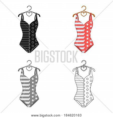 Pink swimsuit for the beach stripe and star.Swimming costume.Swimcuits single icon in cartoon style vector symbol stock web illustration.