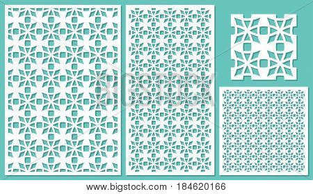 Set of decorative panels laser cutting. Universal mesh mosaic pattern. The ratio of 2: 3, 1: 2, 1: 1, seamless. Vector illustration.
