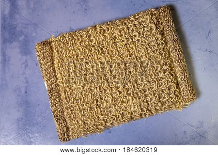 bast from natural fiber on a tile flat lay