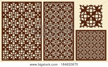 Set of decorative panels laser cutting. Universal mesh geometric pattern. The ratio of 2: 3, 1: 2, 1: 1, seamless. Vector illustration.