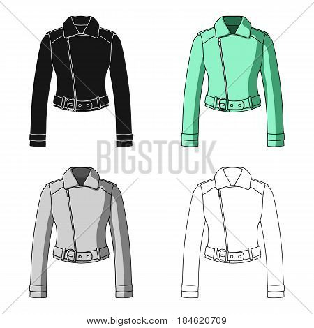 Green youth short leather jackets for confident women.Women clothing single icon in cartoon style vector symbol stock web illustration.