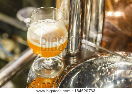Glass Of Wheat Beer At A Brewery