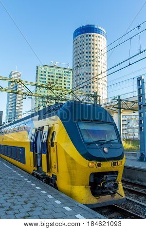The Hague central station the Netherlands - August 20 2016: Dutch electric intercity train at The Hague Central station