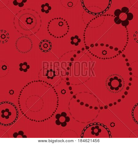 Seamless red pattern with doodles . Abstract floral pattern with white flowers and circles from dots.