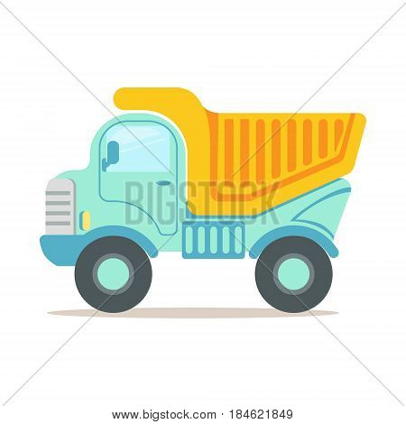 Heavy duty dump truck, construction machinery equipment colorful cartoon vector Illustration isolated on a white background