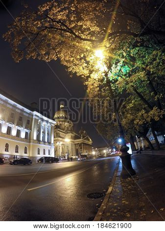 night street in the downtown and St. Isaac's (Isaakievsky) Cathedral. Russia. Petersburg.